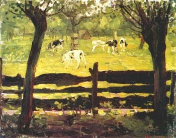 Calves in a Field Bordered by Willow Trees | Piet Mondrian | oil painting
