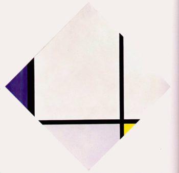 Lozenge Composition 3 Lines Blue Gray Yellow | Piet Mondrian | oil painting