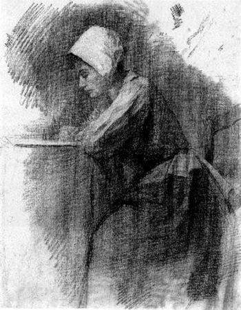 Girl Writing | Piet Mondrian | oil painting
