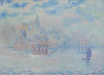 Ships in the New York Harbor 1907 | Theodore Earl Butler | oil painting