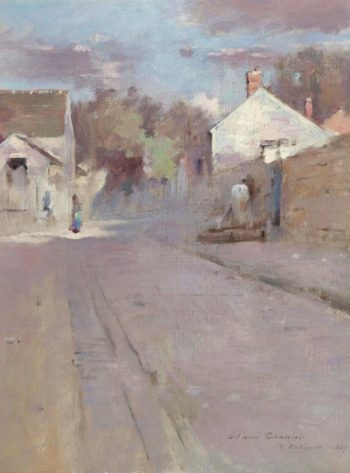 Street in Barbizon Sunset 1887 | Theodore Robinson | oil painting