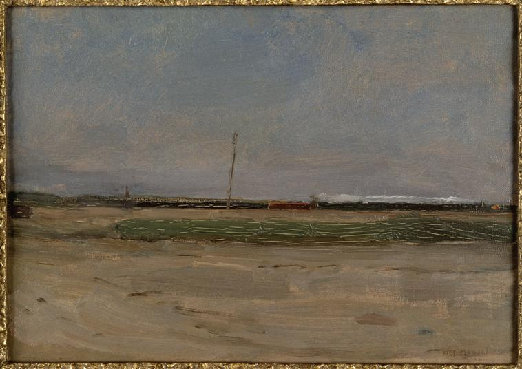 Polder Landscape with a Train and a Small Windmill on the Horizon | Piet Mondrian | oil painting