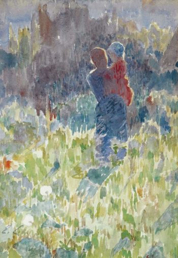 Mother and Child in a Sunlit Garden | Emile Claus | oil painting