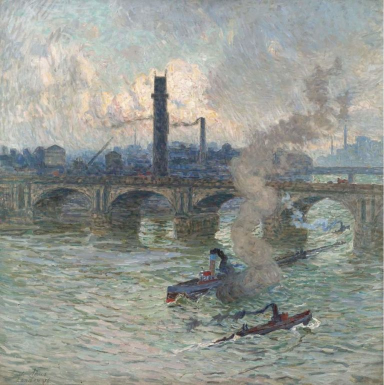 Streamboats on the Thames 1916 | Emile Claus | oil painting