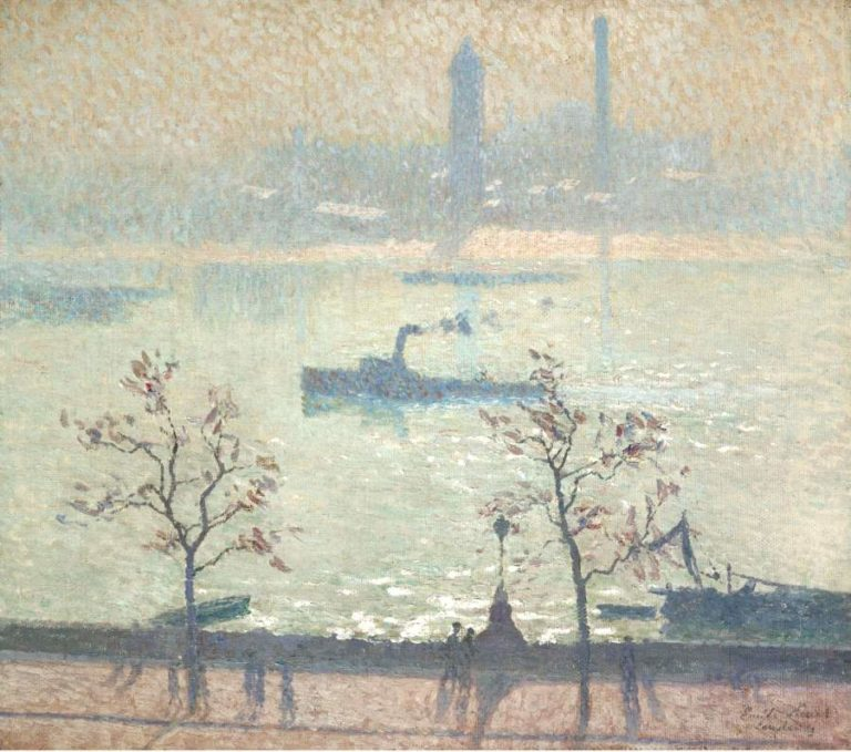 View of the Thames from the Embankment 1919   Emile Claus   oil painting
