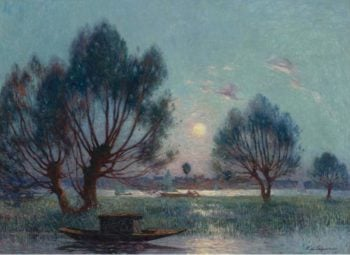 Clear Moon above the Baks of the Loire | Ferdinand du Puigaudeau | oil painting