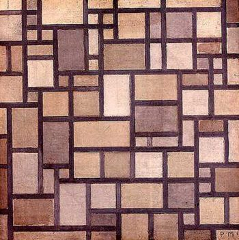 Composition: Light Color Planes with Grey Contours | Piet Mondrian | oil painting