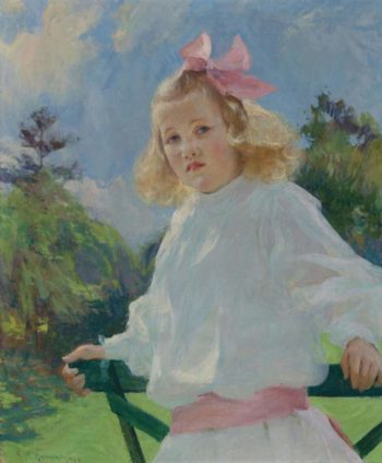Girl with Pink Bow 1905 | Frank Weston Benson | oil painting