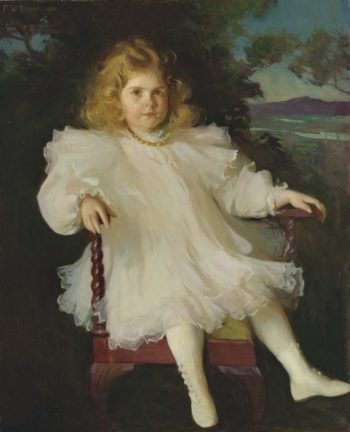 Portrait of Marjorie Coldwell Westinghouse (Young Girl in a White Dress) 1899 | Frank Weston Benson | oil painting