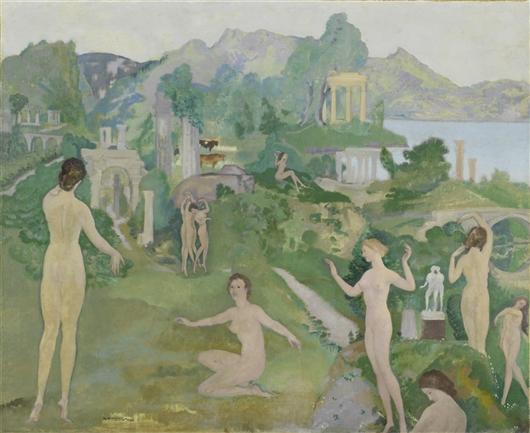 An Antique Vision   Arthur Bowen Davies   oil painting