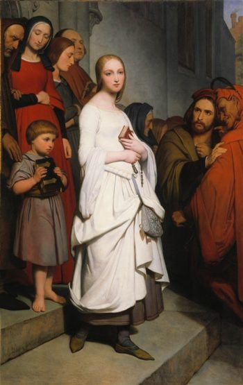 Marguerite Leaving Church   Ary Scheffer   oil painting