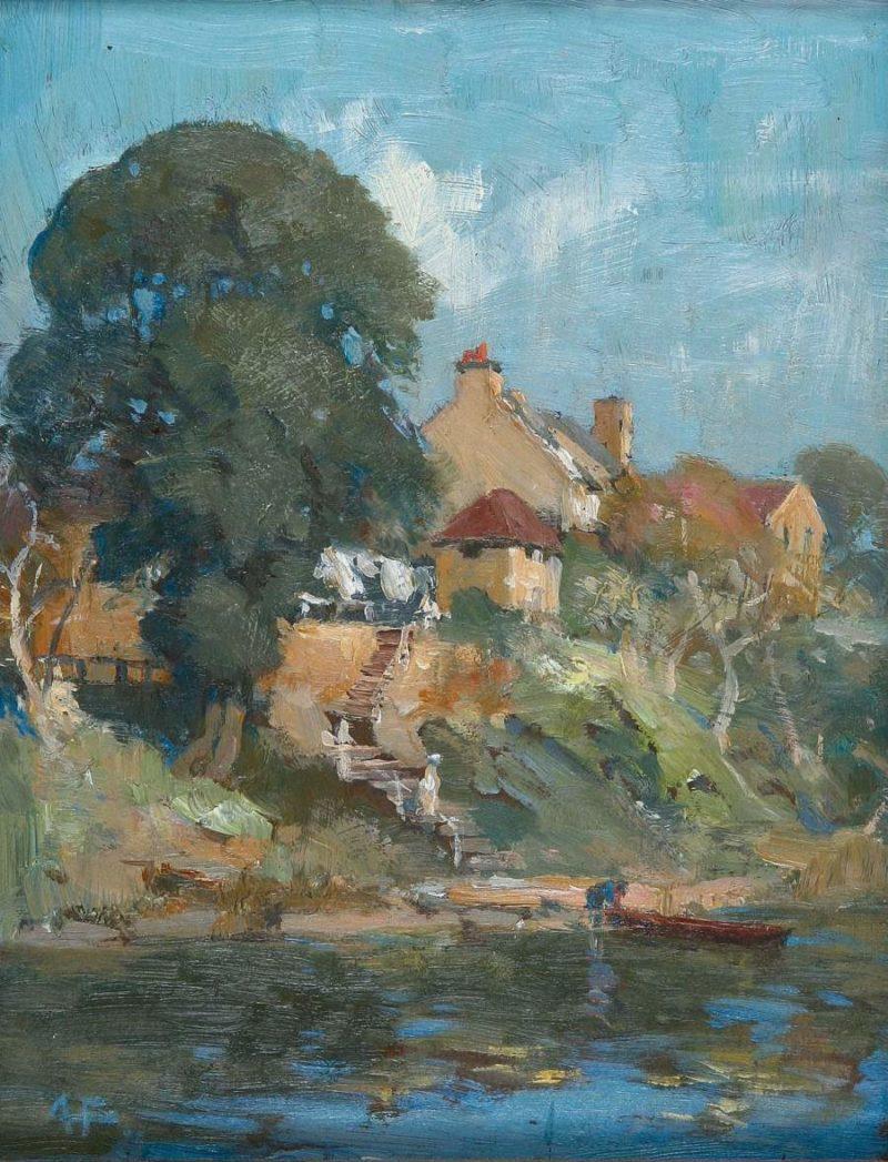 Old Buildings Kerosene Bay Sydney | Albert Henry Fullwood | oil painting