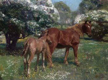Mare and Foal in a Spring Meadow 1909 | Alfred James Munnings | oil painting