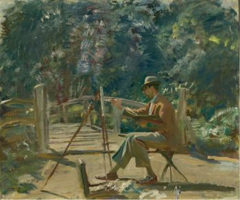 Maurice Codner Sketching by the Bridge at Wiston | Alfred James Munnings | oil painting