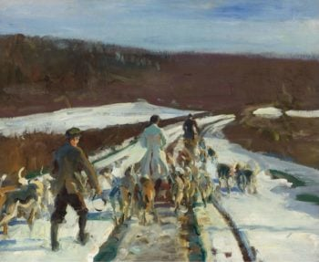 The Young Entry on a Snowy Road at Woolsthorpe | Alfred James Munnings | oil painting