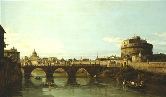 View Of The Tiber With The Castel Sant'angelo   Bernardo Bellotto   oil painting
