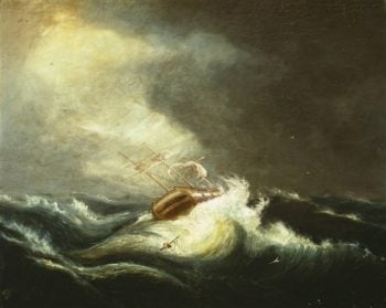 Ship In Storm | Chester Harding | oil painting