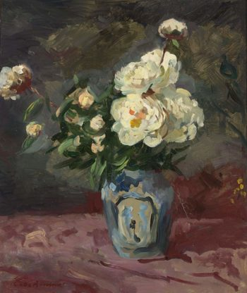 A Flowers Still Life with Peonies in a Delft Blue Vase | Coba Ritsema | oil painting