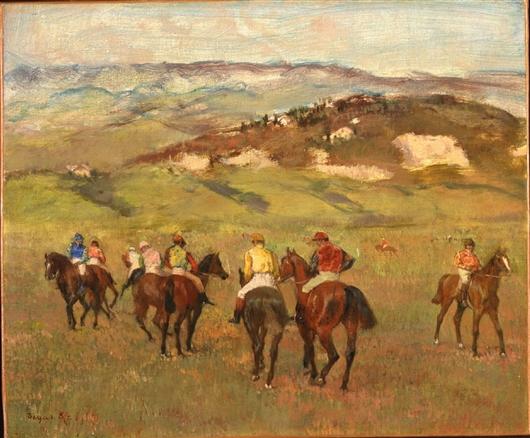 Jockeys On Horseback Before Distant Hills | Edgar Degas | oil painting