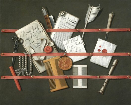 A Trompe-L'oeil Still Life Of A Letter Rack | Edwart Collyer | oil painting