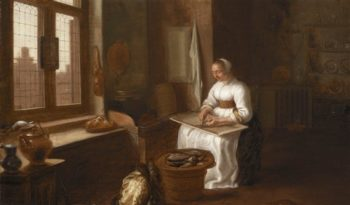 Woman Cleaning Fish | Egbert Lievensz van der Poel | oil painting