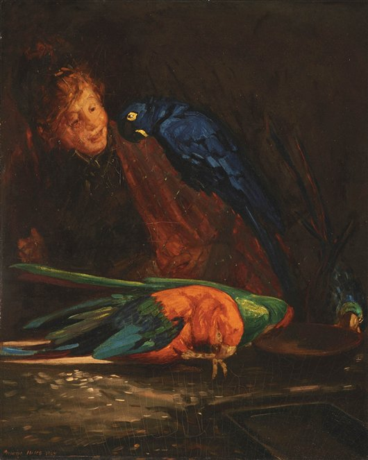 Woman With Macaws | George Benjamin Luks | oil painting