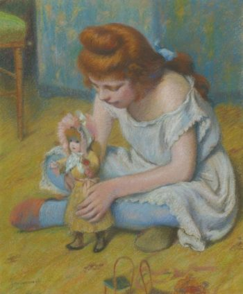 Young Girl Playing with a Doll | Federico Zandomeneghi | oil painting