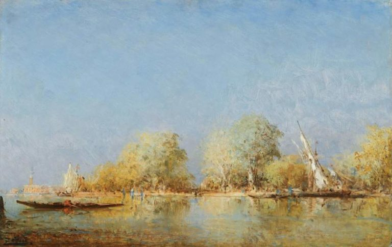 Gondole near the French Gardens (Venice)   Felix Ziem   oil painting