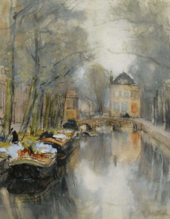 A VIiew of the Smidswater the Hague | Floris Arntzenius | oil painting