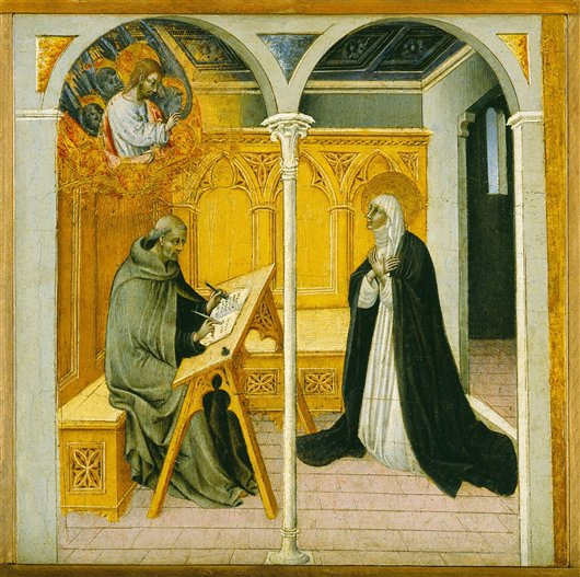 Saint Catherine Of Siena Dictating Her Dialogues | Giovanni di Paolo | oil painting