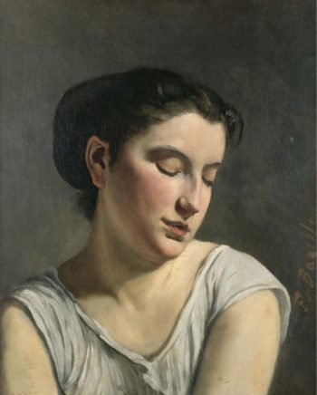 Young Woman Lowering Head 1868 | Frederic Bazille | oil painting