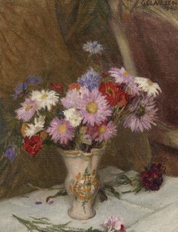 Still Life with Michaelmas Daisies and Cornflowers in a Jug 1940 | George Clausen | oil painting