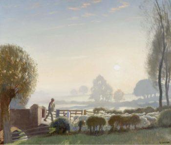 The Shepherd Boy Sunrise   George Clausen   oil painting