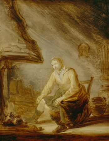 A Woman Warming Herself Before A Fire | Jacob Jordaens | oil painting