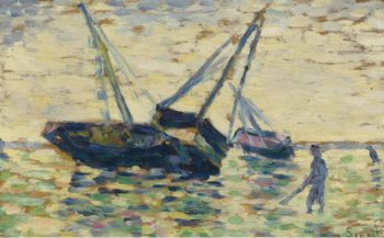 Three Boats at the Sea 1885 | Georges Seurat | oil painting