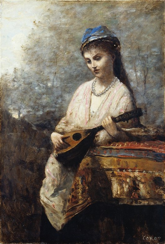 Young Girl With A Mandolin | Jean Baptiste Camille Corot | oil painting