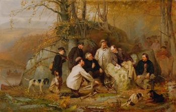 Claiming The Shot: After The Hunt In The Adirondacks | John George Brown | oil painting