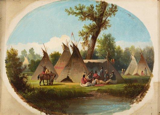 Assiniboin Encampment On The Upper Missouri | John Mix Stanley | oil painting