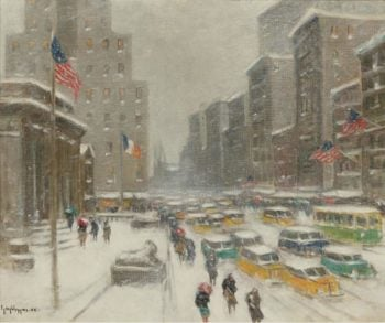 5th Avenue in Winetr | Guy Carleton Wiggins | oil painting