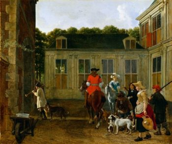 Hunting Party In The Courtyard Of A Country House | Josef Israels | oil painting