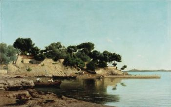 A Cove With Fishermen | Jules Alexander Gamba de Preydour | oil painting