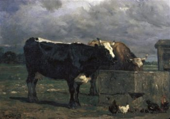 Cattle At The Trough | Leo Putz | oil painting