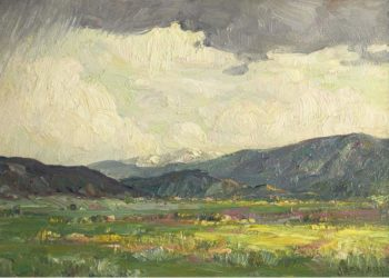 Sun Burst Taos Mountains | Joseph Henry Sharp | oil painting