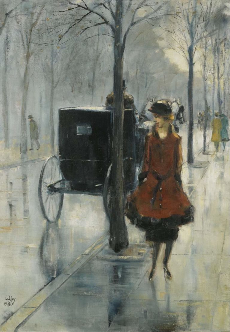 Street Scene with Woman Berlin 1918 | Lesser Ury | oil painting