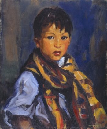 Boy With Plaid Scarf | Robert Cozad Henri | oil painting