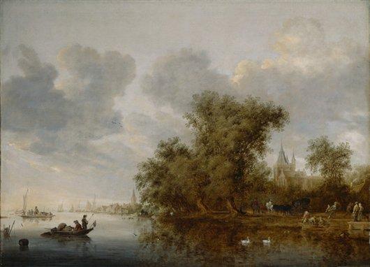 River Landscape   Salomon Jacobsz van Ruysdael   oil painting