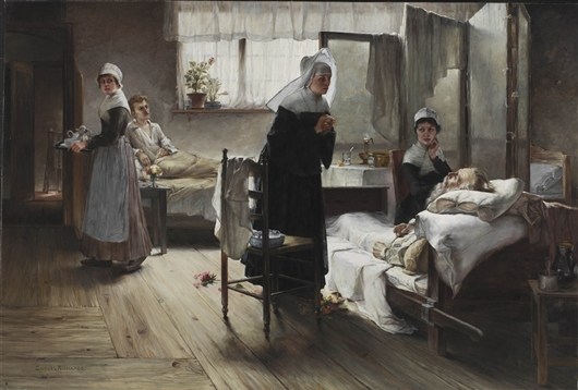 Evangeline Discovering Her Affianced In The Hospital | Samuel Richards | oil painting