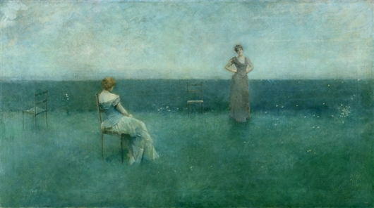 The Recitation   Thomas Wilmer Dewing   oil painting