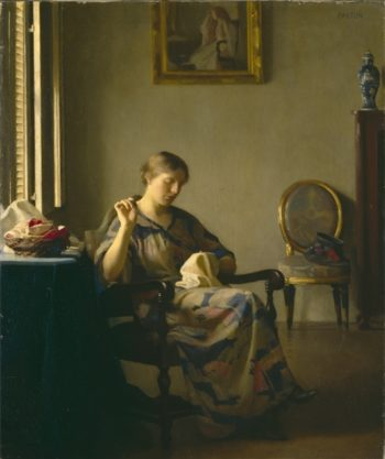 Woman Sewing | William McGregor Paxton | oil painting