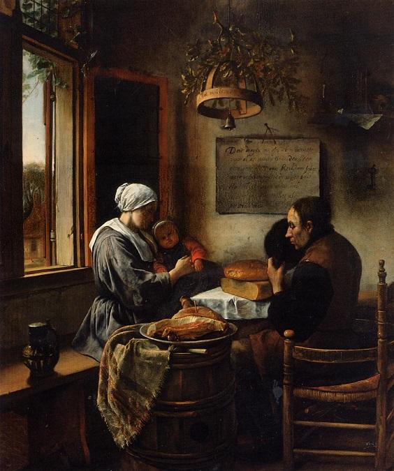 Prayer before meal   Jan Steen   oil painting